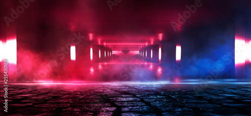 Fotografia, Obraz Wet asphalt, reflection of neon lights, a searchlight, smoke