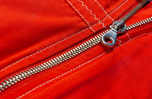 Zipper Of A Red Down Jacket