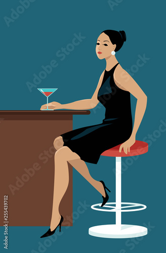 Young pretty woman sitting at a bar with a cocktail, waiting, EPS 8 vector illus Wallpaper Mural