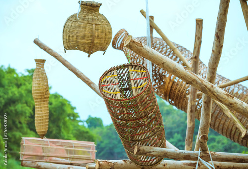 Valokuva  Ancient bamboo fish trap equipment of countryside, Thailand