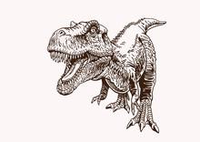 Graphical Vintage Tyrannosaurus ,vector Illustration,tattoo