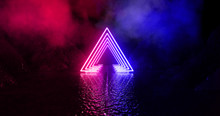 Wet Asphalt, Neon Light Reflected On A Wet Surface, Arch, Light Triangle, Pyramid Abstract Light, Smoke, Smog. Night Background, Night City