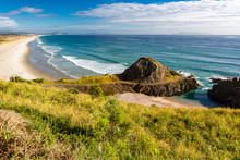Overlooking Northland Beach With Incoming Pacific Waves, Blue Sky And Some Clouds, New Zealand