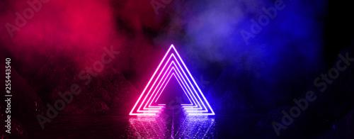 Fotografia  Wet asphalt, neon light reflected on a wet surface, arch, light triangle, pyramid abstract light, smoke, smog