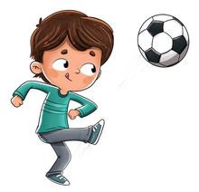 Niño Jugando Al Futbol Lanzan...