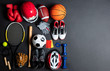 Sport Equipment On Black Background