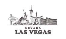 Las Vegas Sketch Skyline. Nevada, Las Vegas Hand Drawn Vector Illustration.
