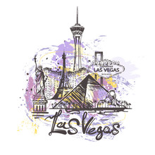 Las Vegas Abstract Color Drawing. Las Vegas Sketch Vector Illustration