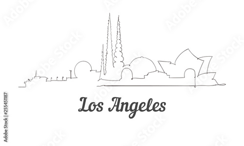 One line style Los Angeles skyline Canvas Print
