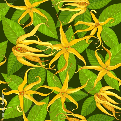 Spoed Foto op Canvas Draw Ylang Ylang Exotic Flowers Vector Seamless Pattern Textile Design