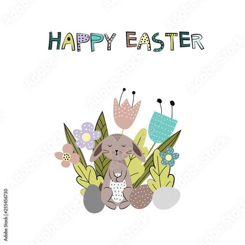 Fotografie, Obraz  Sweet and colorful Easter rabbits. Vector illustration