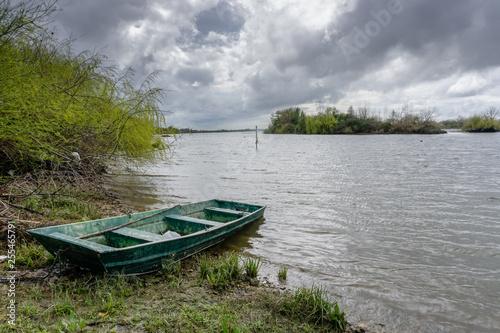 Fotografie, Obraz  View of the river with grass and boat, in Porto do sabugueiro, muge, santarem portugal