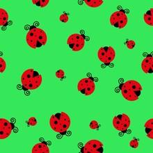 Seamless Pattern Of Ladybugs
