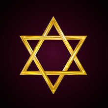 Jewish Star Of David. Golden Six-pointed Star On A Dark Background. 3d Realistic Hexagonal Figure. Gold Magen David. Vector Icon. Easy To Edit Template For Jour Designs.