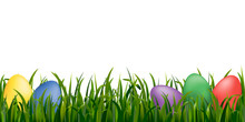 Element With Grass And Color Eggs For Easter Design. Vector.