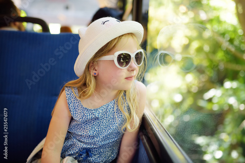 Fotografie, Obraz Cute young girl traveling by train on summer day