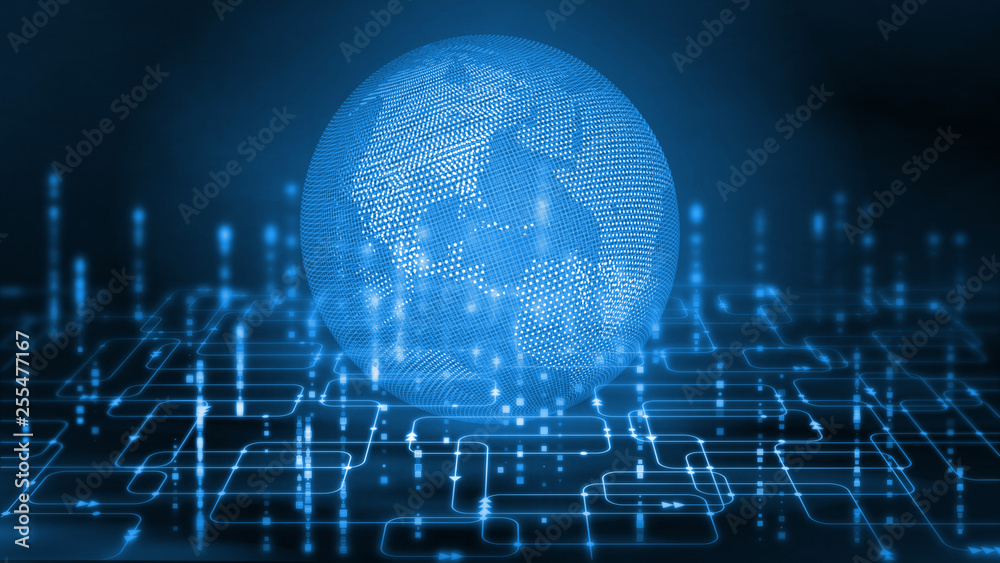 Fototapety, obrazy: 3D Rendering of wire frame dotted globe on abstract computer software programming flow chart background.  For tech wallpaper, crypto currency concept.