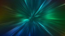 Abstract Radial Zoom Lines. Green And Blue Contrast Ray Lights Motion Burst On Dark Background. Moving With Fast Acceleration Speed Through Space Time.