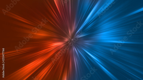 Abstract zoom lights with color of Fire and Ice element against (vs) each other background Fotobehang