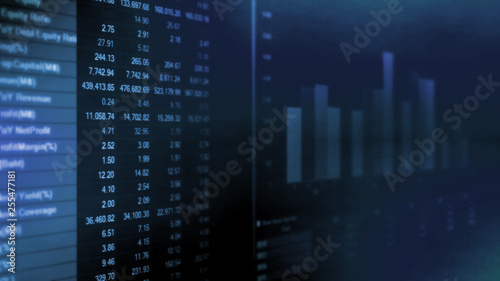 Photo 3D Illustration of Stock company financial ledger's highlight with important acc