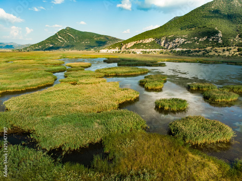 Aerial view of Stymphalia lake, located in the north-eastern part of the Pelopon Canvas Print
