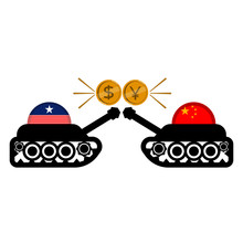American And Chinese Army Tanks With Dollar And Yuan Coins. Vector Illustration Design