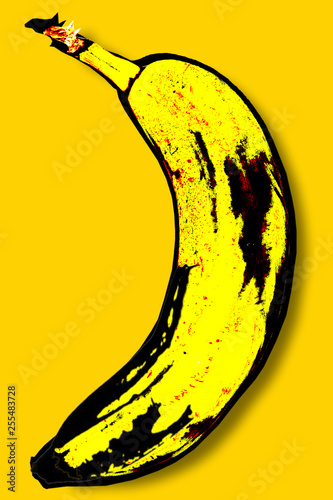 Fotografie, Tablou Yellow banana in the style of Andy Warhol