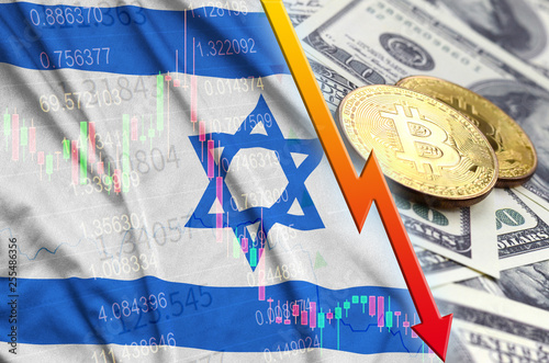 Fotografía  Israel flag and cryptocurrency falling trend with two bitcoins on dollar bills