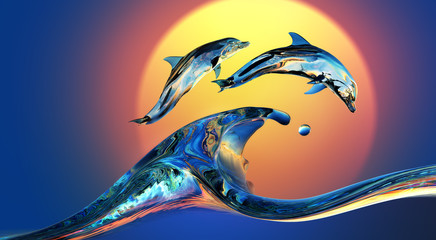 NaklejkaDolphins jumping over Vibrant sunset sea Water wave with bright background, 3d illustration