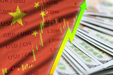 China Flag And Chart Growing US Dollar Position With A Fan Of Dollar Bills
