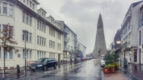 Fotografia, Obraz Beautiful Perspective street view from downtown to Hallgrimskirkja the modern ca
