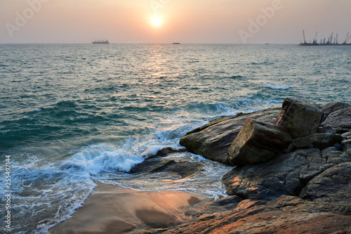 Photo India, Kerala. Beach of the Indian ocean at sunset