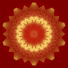 Ornamental Arabic Pattern With Mandala. Vintage Vector For Print Or Web Design. Invitation, Wedding Card, National Design. Luxury Red Gold Color