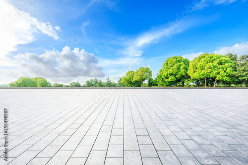 Empty square floor and green woods in nature park - 255498587