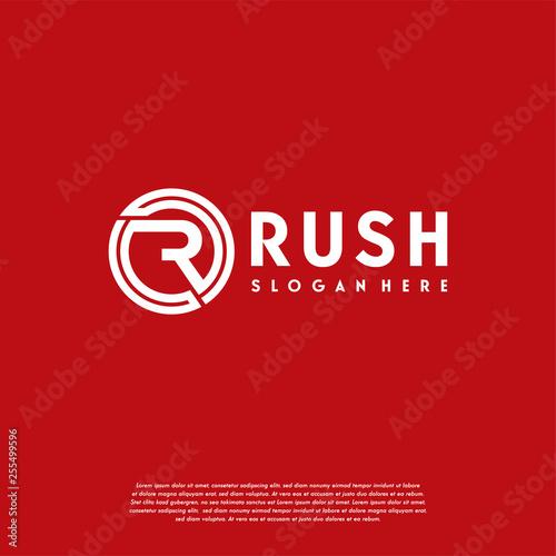 Photo  Simple Flat designs R initial logo, Rush logo symbol