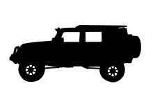 Silhouette Car On White Background
