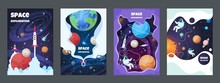 Cartoon Space Flyer. Universe Galaxy Banner Planet Science Poster Astronaut Poster Frame Brochure Cover Design. Vector Space Concept Set