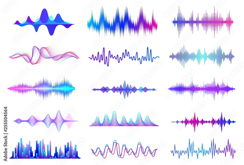 Wall Murals Sound waves  Frequency audio waveform, music wave HUD