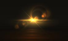 Golden Light Effect. Glowing F...