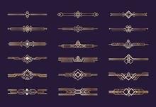 Art Deco Ornament. 1920s Vintage Gold Borders And Dividers, Retro Header Graphic Elements, Nouveau Vector Geometric Decoration Set