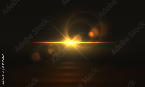 Obraz Golden light effect. Glowing flare background, yellow magic abstract sparkle realistic transparent glitter. Vector golden bright light - fototapety do salonu