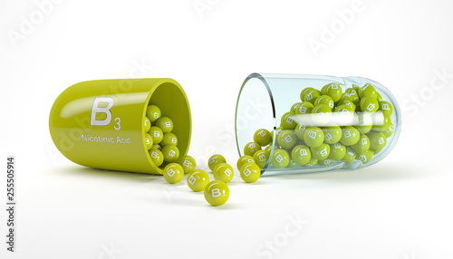 3d rendering of a vitamin capsule with vitamin B3 - nicotinic acid Fototapeta