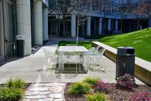Outdoor Break Area Patio In A Corporate Building Complex