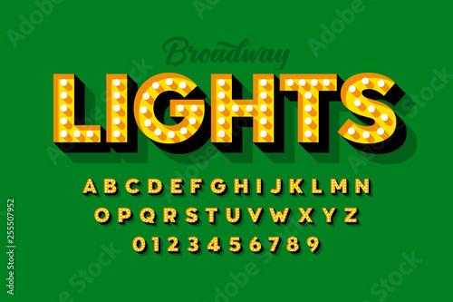 Photo  Broadway lights, retro style light bulb font, vintage alphabet, letters and numb