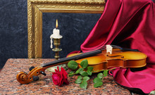 Candle, Violin, Red Rose, Drap...
