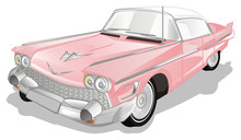 Vintage Pink Car On A White Background