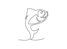 Continuous Line Drawing Of Fish Vector