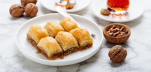 Baklava With Walnut. Turkish Traditional Dessert.