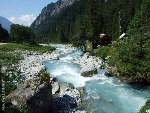 Printed kitchen splashbacks River The Chärstelenbach stream in the Maderanertal alpine valley - Canton of Uri, Switzerland
