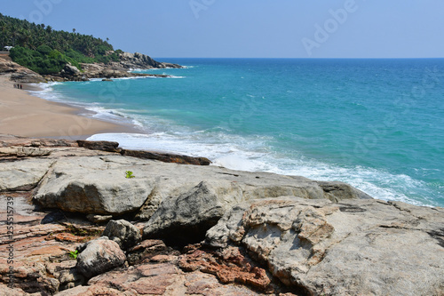 India, Kerala. Beach of the Indian ocean in spring Canvas Print